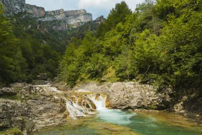 Waterfall on Rio Bellos river in the limestone Anisclo Canyon, Ordesa National Park, Anisclo, Pyren