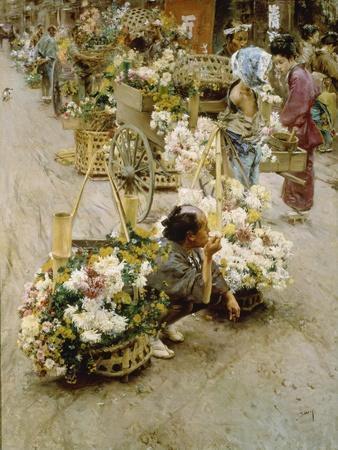 Auf dem Blumenmarkt in Tokyo. 1892