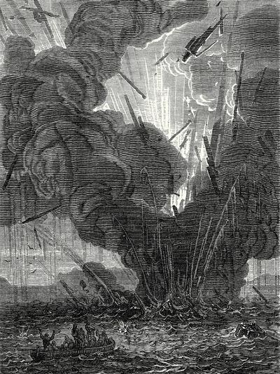 Robert Fulton Blows Up a Boat with His Infernal Machine in the Harbor of Brest--Giclee Print