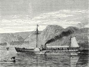 The 'Clermont' Robert Fulton's First Steamboat Sailing on the Hudson River in New York at Albany by Robert Fulton