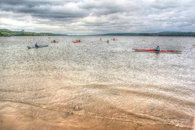 Kayaks on the Hudson
