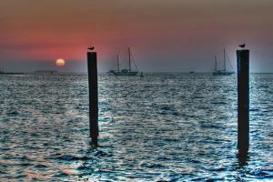 Key West Sunset Two Pilings by Robert Goldwitz