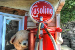 Old Gas Pump and Teddy by Robert Goldwitz