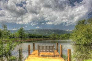 Pond Bench Dock and Mountain by Robert Goldwitz