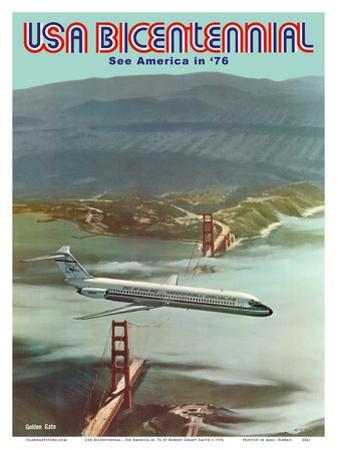 USA Bicentennial - Golden Gate Bridge - See America in '76 - McDonnell Douglas DC-9 by Robert Grant Smith