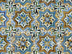 Azulejos Tiles in the Mudejar Style, Casa De Pilatos, Santa Cruz District, Andalusia, Spain by Robert Harding