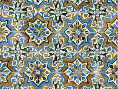 Azulejos Tiles in the Mudejar Style, Casa De Pilatos, Santa Cruz District, Andalusia, Spain