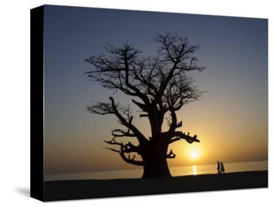 Baobab Tree and Couple Walking, Sine Saloum Delta, Senegal, West Africa, Africa