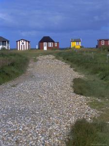 Beach Huts, Aeroskobing, Island of Aero, Denmark, Scandinavia, Europe by Robert Harding
