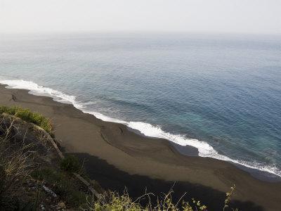 Black Volcanic Sand Beach at Sao Filipe, Fogo (Fire), Cape Verde Islands, Atlantic Ocean, Africa