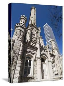 Chicago Water Tower in Foreground, Hancock Building in Background, Chicago, Illinois, USA by Robert Harding