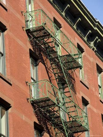 Fire Escapes on the Outside of Buildings in Spring Street, Soho, Manhattan, New York, USA
