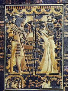 Ivory Plaque from the Lid of Coffer, Tutankhamun and Ankhesenamun in Garden, Egypt, North Africa by Robert Harding