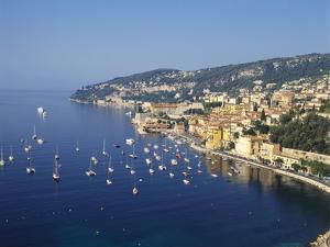 Sailing Boats Off the Coast of Villefrance-Sur-Mer, Provence, France by Robert Harding