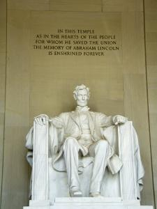 Statue of Abraham Lincoln in the Lincoln Memorial, Washington D.C., USA by Robert Harding