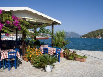 Taverna, Vathi, Meganisi, Ionian Islands, Greek Islands, Greece, Europe by Robert Harding