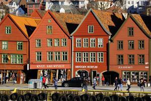 Traditional Wooden Hanseatic Merchants Buildings of the Bryggen, Bergen, Norway, Scandinavia by Robert Harding