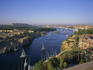 View Over the Nile River from the New Cataract Hotel, Aswan, Egypt, North Africa, Africa by Robert Harding