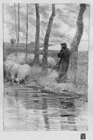 A Shepherd with His Flock by a River, 1899 by Robert Hermann Sterl