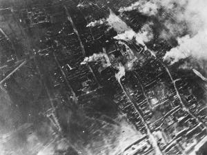 Aerial View of Ypres in Flames During World War I in Belgium by Robert Hunt