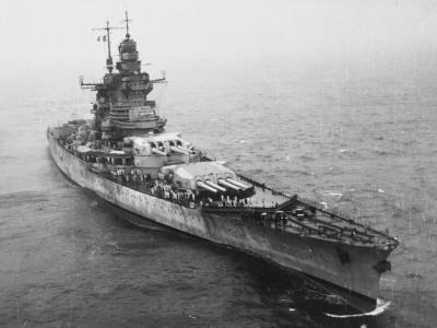 French Battleship the 'Richelieu' Off New York City During World War Ii