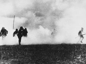 German Infantry in Action Wearing Gas Masks on the Western Front During World War I by Robert Hunt