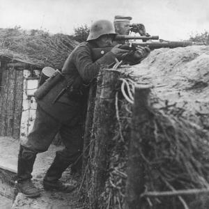 German Sniper in a Trench on the Western Front During World War I by Robert Hunt