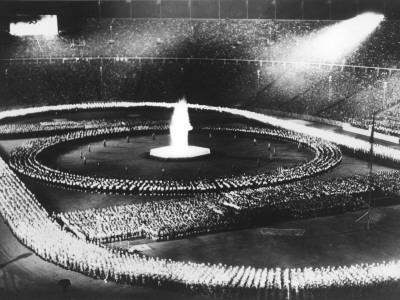 Parade in the Olympic Stadium During the 1936 Berlin Olympics in Germany