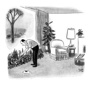 A man practices his golf game in the living room; he has lost the golf bal? - New Yorker Cartoon by Robert J. Day