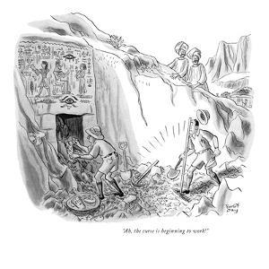 """Ah, the curse is beginning to work!"" - New Yorker Cartoon by Robert J. Day"