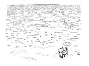 Artist sitting beside the sea. Nothing but water infront of him. He has hi? - New Yorker Cartoon by Robert J. Day