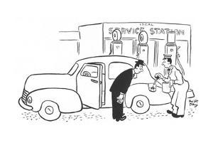 Gas station attendant filling gas tank with eye dropper. - New Yorker Cartoon by Robert J. Day