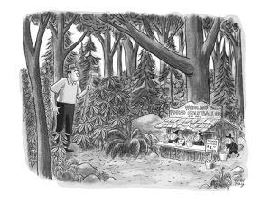 Golfer looking for his golf ball in the woods comes across gnomes running ? - New Yorker Cartoon by Robert J. Day
