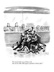 """It started when one of them said that all the Miss Rheingold candidates l?"" - New Yorker Cartoon by Robert J. Day"