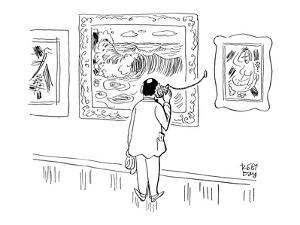 Man in museum is seen listening to a conch tethered to a wall on which han? - New Yorker Cartoon by Robert J. Day