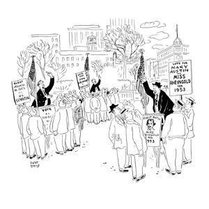 Soapbox speakers at Union Square. One man is campaigning for Miss Rheingol? - New Yorker Cartoon by Robert J. Day