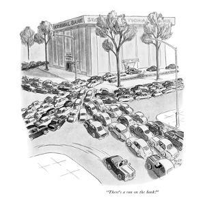 """There's a run on the bank!"" - New Yorker Cartoon by Robert J. Day"