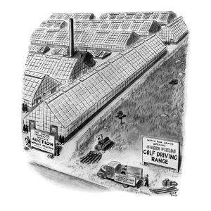 Watch For Grand Opening: Screen Fields Golf Driving Range' - New Yorker Cartoon by Robert J. Day