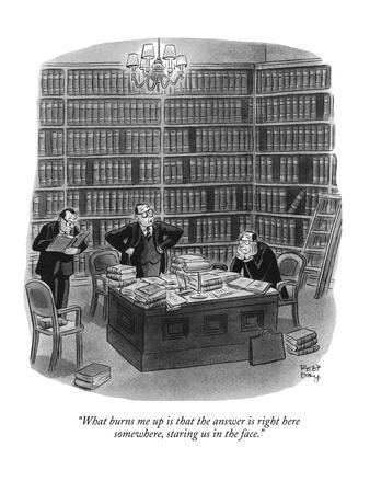 """What burns me up is that the answer is right here somewhere, staring us i?"" - New Yorker Cartoon"