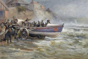 Launching the Cullerboats Lifeboat, 1902 by Robert Jobling