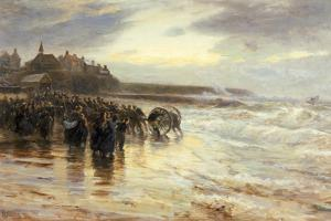 The Lifeboat Off, 1884 by Robert Jobling