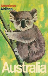 Australia - Koala Bear In Tree - American Airlines by Robert Jones