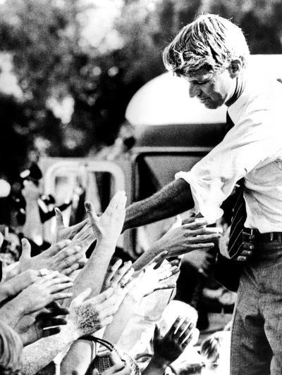 Robert Kennedy Shaking Hands During 1968 Campaign--Photo