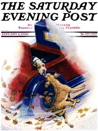 """""""Bone of Contention,"""" Saturday Evening Post Cover, January 4, 1930"""