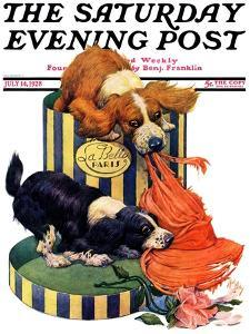 """""""Dogs Eating Hat,"""" Saturday Evening Post Cover, July 14, 1928 by Robert L. Dickey"""