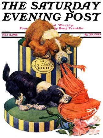 """""""Dogs Eating Hat,"""" Saturday Evening Post Cover, July 14, 1928"""
