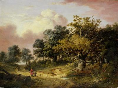 Wooded Landscape with Woman and Child Walking Down a Road (Oil on Panel)