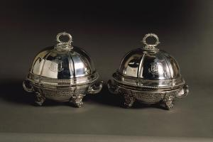 Pair of Silver Covered Dishes, Engraved with Coat of Arms, 1821 by Robert Lefevre