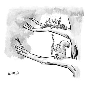 A squirrel in a tree uses a stick to knock on the branch above where baby ? - New Yorker Cartoon by Robert Leighton