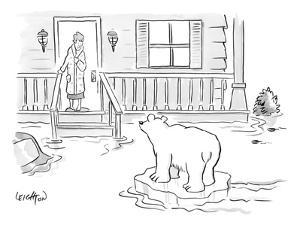 A Woman in her bathrobe steps out on her porch to see a flood surrounding ? - New Yorker Cartoon by Robert Leighton